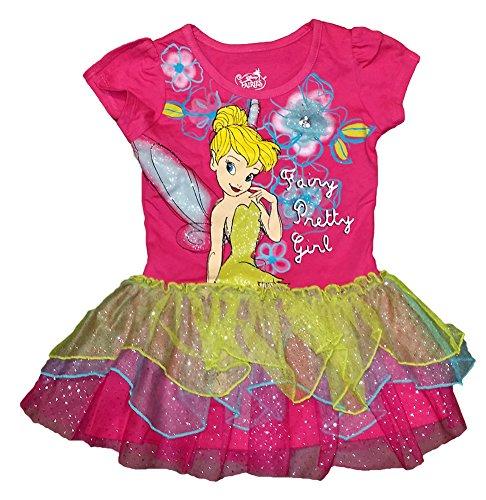 Disney Baby Girls Tinkerbell Ruffled Tiered Flounce Dress - Pink Blue Yellow