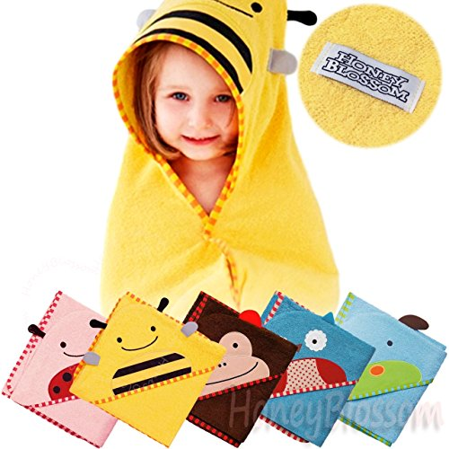 (ハニーブロッサム) HONEY BLOSSOM ベビー アニマル パイル おくるみ バスローブ 動物 お顔 と 耳 付き フード ポンチョ マント タオル地 出産祝い プレゼント A001 yellow