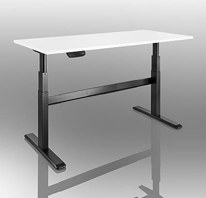 Bureau reglage en hauteur motorise - celexon Pro eAdjust-65120B noir, avec plateau de bureau 150 x 75 cm blanc