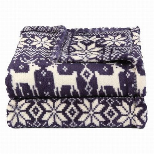 Soft & Lofty Blue Snowflake Reindeer Oversized Microplush So Soft Throw Blanket