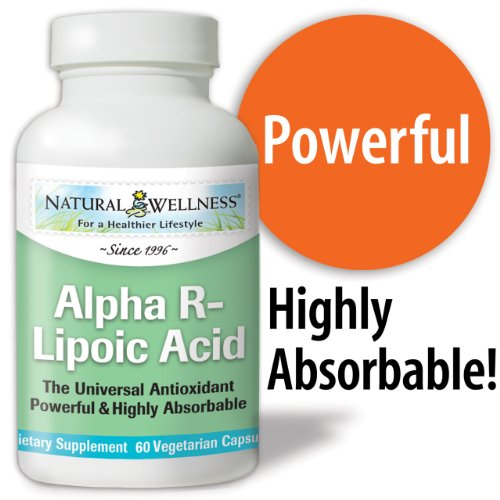 Natural Wellness Alpha R-Lipoic Acid Superior Antioxidant 60 Capsules - Better Absorbed & More Potent Form Of Alpha Lipoic Acid, Powerful Scavenger Of Free Radicals