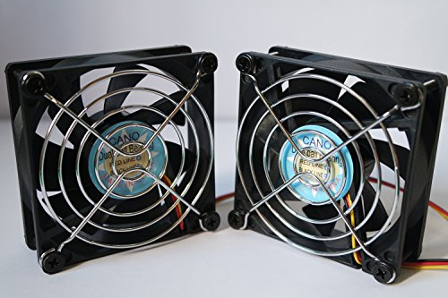CANO(2 PACK) cooling fan with Grill 8cm long life 8025 Dual Ball Bearing fan for pc, Computer Cases, CPU Coolers, and Radiators , TV Box Router Cooler (80mm DC12V) (Garage Controlers compare prices)