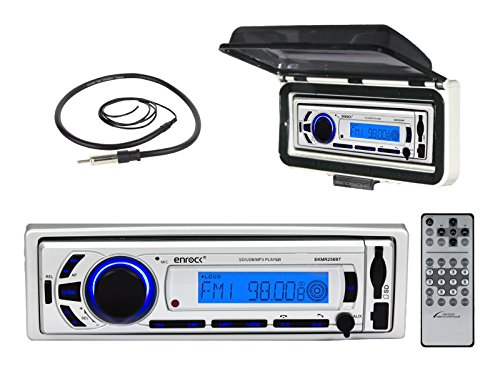 EnrockMarine EKMR256BT ACM3W EKMR1 AM/FM Radio USB AUX Bluetooth Receiver with Splashproof Cover & Antenna