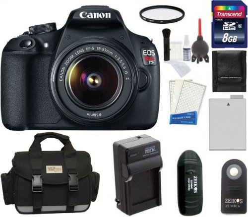 Canon Eos Rebel T5 Digital Camera Slr Kit With Canon Ef-S 18-55Mm Is Ii Lens + 8Gb Card + Battery + Charger + Case + Filter + Shutter Release + Cleaning & Accessory Kit