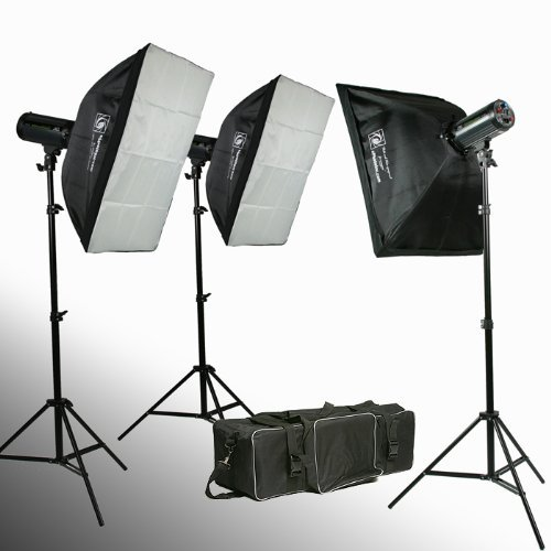 ePhoto W-300 Photography Studio MonoLight Flash Lighting Kit, 900-Watt (Black)