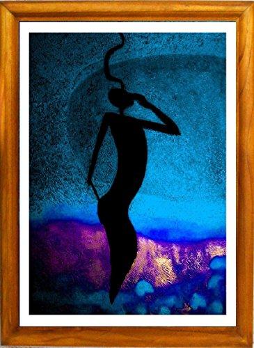 """Grapha Fantasia"" Framed Art Picture, Artsy Design Based On Modern Oil Painting, Mystery Figure Sliding Through Relaxing Horizon."
