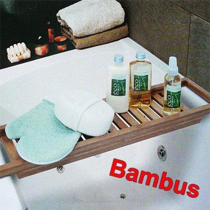 Bathroom solutions ripiano mobile porta oggetti per vasca da bagno in bamb - Porta vasca da bagno ...