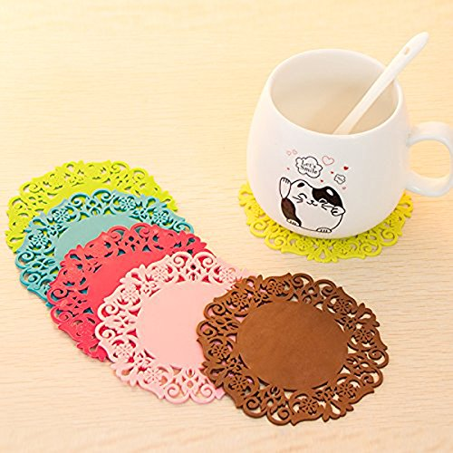 Cute Flower Shaped Colored 6pcs Silicone Flower Mug Coasters Mats Pad Cushion Drinks Tea Cup Holder Drink for Glass Wine