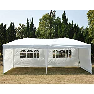outsunny easy pop up canopy party tent 10 x 20 feet white with 4 removable. Black Bedroom Furniture Sets. Home Design Ideas