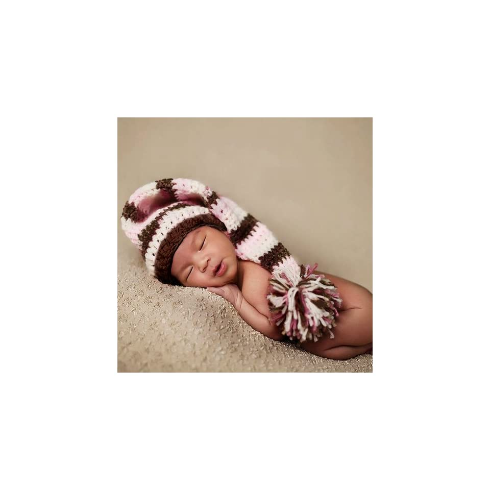 "Baby,toddleer ,Boy ,Girl Christmas Holiday Elf Hat Crochet Hat Baby Hat Beanie Hat Stocking with Pom pom Pink and Brown White Color Hand Made with 100% Cotton Yarn (Small15"" 17"") Clothing"