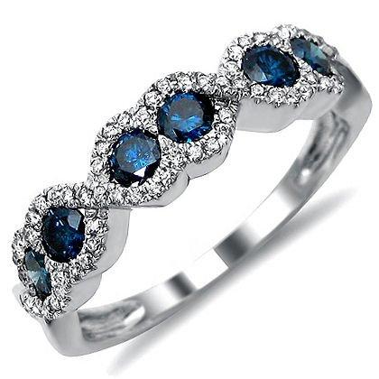 .90Ct Blue Round Diamond Anniersary Band Ring 14K White Gold