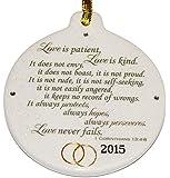 Corinthians 13.4 Love is Patient 2015 Wedding Anniversary Porcelain Ornament Christmas Rhinestone Crystal Detail