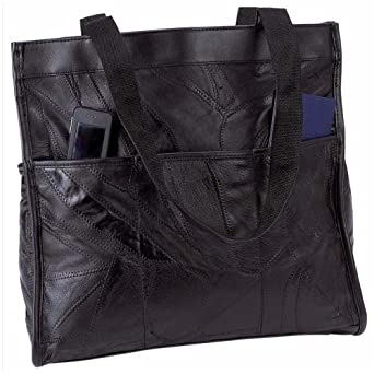Embassy Italian Stone Design Genuine Leather Shopping/Travel Bag - Black