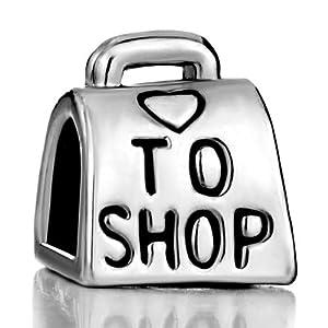 Silver Plated Pugster Love To Shop Bag Handbag Heart Bead Fits Pandora Charm Bracelet