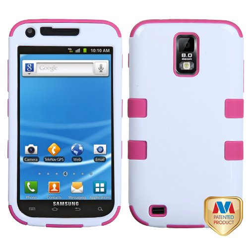 Ivory White/Hot Pink TUFF Hybrid Phone Protector Cover for Samsung T989 Galaxy S II T-Mobile