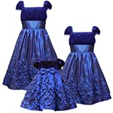 Rare Editions Baby/INFANT 12M-24M2-Piece BLUE VELVET SOUTACHE BORDER Special Occasion Wedding Flower Girl Holiday Pageant Party Dress