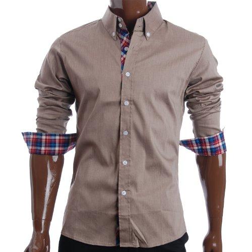 FLATSEVEN Mens Slim Fit Casual Dress Shirts (SH104) KhakiTan, XL
