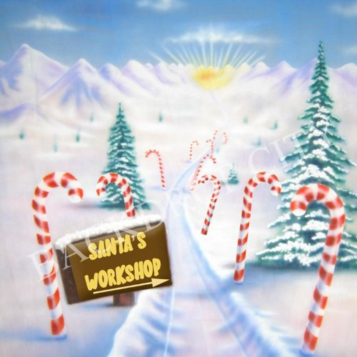 10x10 Santa's Workshop Christmas Holiday Computer-printed Background Backdrop