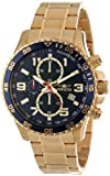 Invicta Mens 14878 Specialty Chronograph Dark Blue Textured Dial Gold Ion-Plated Stainless Steel Watch