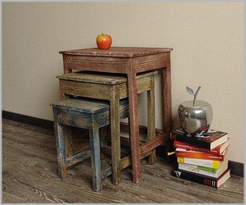 Wohnzimmer ideen testen dekorativer 3er beistelltisch for Beistelltisch used look