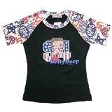 Betty Boop Tシャツ 黒 ラグラン袖(クリーム) 星柄