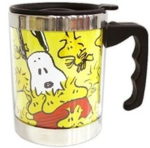 Peanuts Snoopy Woodstock Stainless Steel Insulated Thermos Coffee Tea Mug Cup 16-Ounce