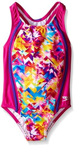 Speedo Little Girls Tie Dye Splash Sport Splice 1 Piece, New Blush, 4 (Tie Dye One Piece compare prices)