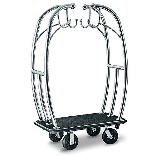 csl-3699bk-010-blk-angel-style-titanium-gold-bellmans-cart-with-black-carpet-base-black-bumper-cloth