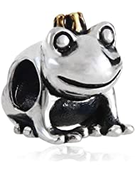 Gold Plated Crown Frog Prince Charm Antique Sterling Silver Bead For European Brand Bracelet Compatible