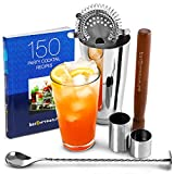 Home Cocktail Set with Cocktail Book by bar@drinkstuff Cocktail Making Kit in Recyclable Gift Box with Boston Cocktail Shaker Tin & Glass, Cocktail Book, Hawthorne Cocktail Strainer, Muddler, Twisted Mixing Spoon, 25ml & 50ml Thimble Bar Measure