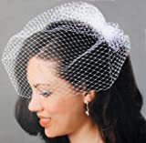 David Tutera Birdcage Veil with Comb - Ivory/Light Cream - 18 inch