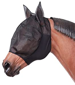 Tough 1 Lycra Fly Mask with Ears, Black, Large/X-Large