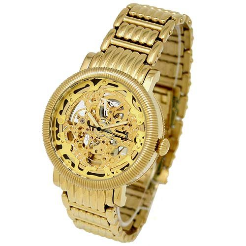 Auguste Galan MECCANIX RARGB Men's Gold-tone Mechanical Skeleton Watch. Model AG-0849
