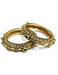 Shingar Jewellery Antique Gold Kundan Polkii Look Screw Open Kada Bangles Set In 2.4 Size For Women