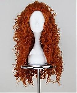 Xcoser Princess Merida Long Curly Wig Disney Cosplay Costume Dark Brown Wavy Hair For Girls