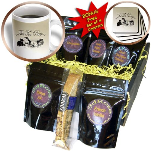 Cgb_79320_1 Ps Vintage - Tea Party Kittens- Cute Animal Art- Cats - Coffee Gift Baskets - Coffee Gift Basket
