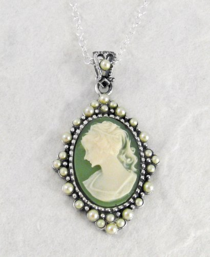 Sterling Silver Elegant Green Cameo and Pearlized Beads Frame Pendant Necklace, 16-18