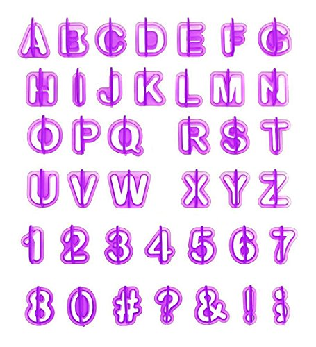 ilauke Lot de 40pcs Alphabet Nombre Découpoirs Emporte-pièces Pastiques pour Décoration de Biscuit Gâteau Cookie Pâtisserie