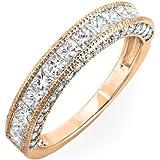 1.40 Carat (ctw) 14k Gold Princess & Round Diamond Ladies Anniversary Wedding Band