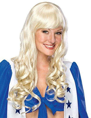 Popcandy Deluxe Elise Long Platinum Blonde Curly Wig with Bangs (Blonde Elise Adult Wig)