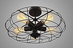 EdiMoM Brand; Vintage Barn Metal Semi Flush Mount Light 5 Lights, Max 300W, Black