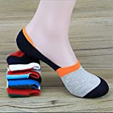 HTH 2016 New Arrival One Pairs Men Contrast Color Blocking Socks Personalized Men Loafer Liner No Show Low Cut Sock - PACK OF 5
