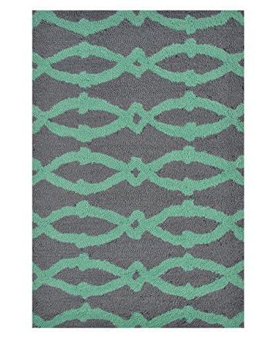 Pop Accents Sterling Indoor/Outdoor Scatter Rug, Aqua/Grey, 22″ x 34″