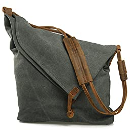 EcoCity Unisex Hobo Canvas Cross Body Handbag Purse Messenger Shoulder Satchel Bag School Bags HB0065G3 (Grey)