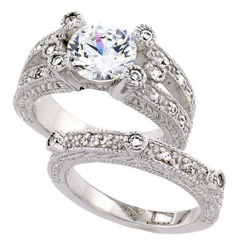 Sterling Silver Vintage Style 2Piece Wedding Ring Set for Women