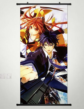 Home Decor Anime Black Bullet Wall Scroll Poster Fabric Painting Satomi Rentaro & Aihara Enjyu 17.7 X 37.4 Inches-014 (Black Bullet Anime Poster compare prices)