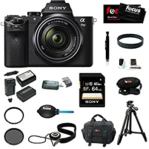 Sony Alpha a7II Interchangeable Digital Lens Camera with 28-70mm Lens With Sony 64GB SDXC Memory card, Sony VCT-R100 Tripod, 2 Additional NP-FW50 High Quality Batteries and Charger, Focus DSLR System Camera Case, Accessory Bundle