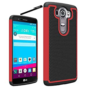 LG V10 Case, OEAGO LG V10 Case Cover Accessories - Shock-Absorption Dual Layer Defender Protective Case Cover For LG V10 (2015 Release) - Red
