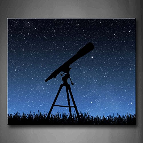 Blue Telescope Under The Night Sky Wall Art Painting Pictures Print On Canvas Abstract The Picture For Home Modern Decoration (Stretched By Wooden Frame,Ready To Hang)