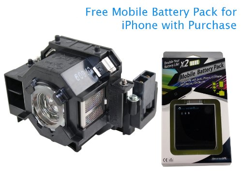 Projector Lamp for Epson Powerlite 83C 170-Watt 2000-Hrs UHE with extricate Mobile Battery Pack